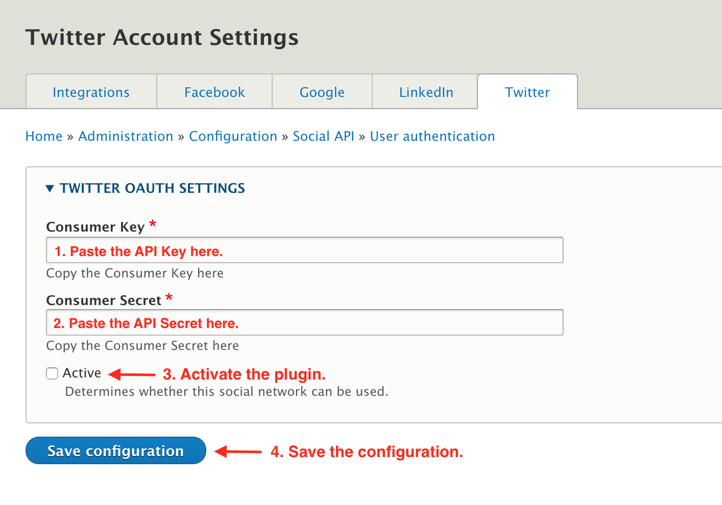 Twitter configuration settings